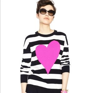 Kate Spade Sm Intarsia Heart Stripe Sweater